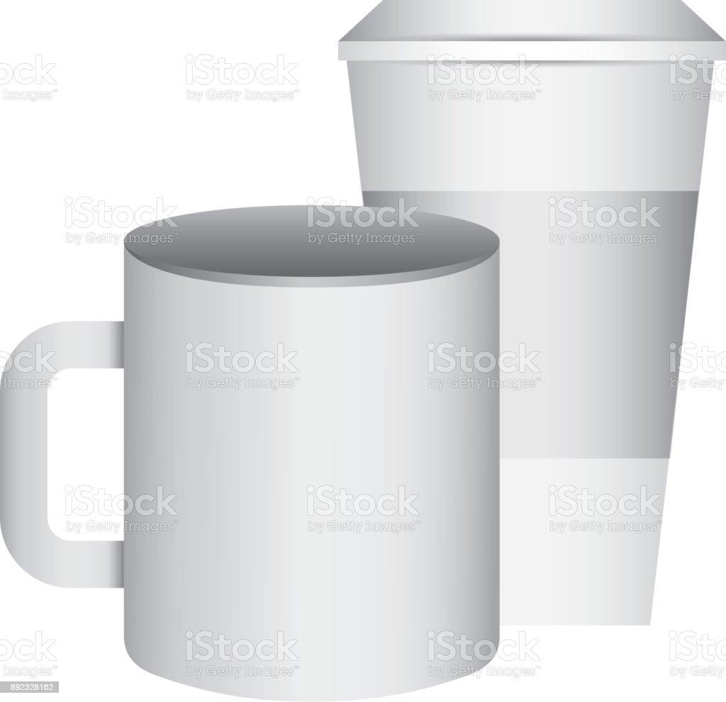Keramik Und Papier Kaffee Tasse Leeren Vorlage Für Corporate ...