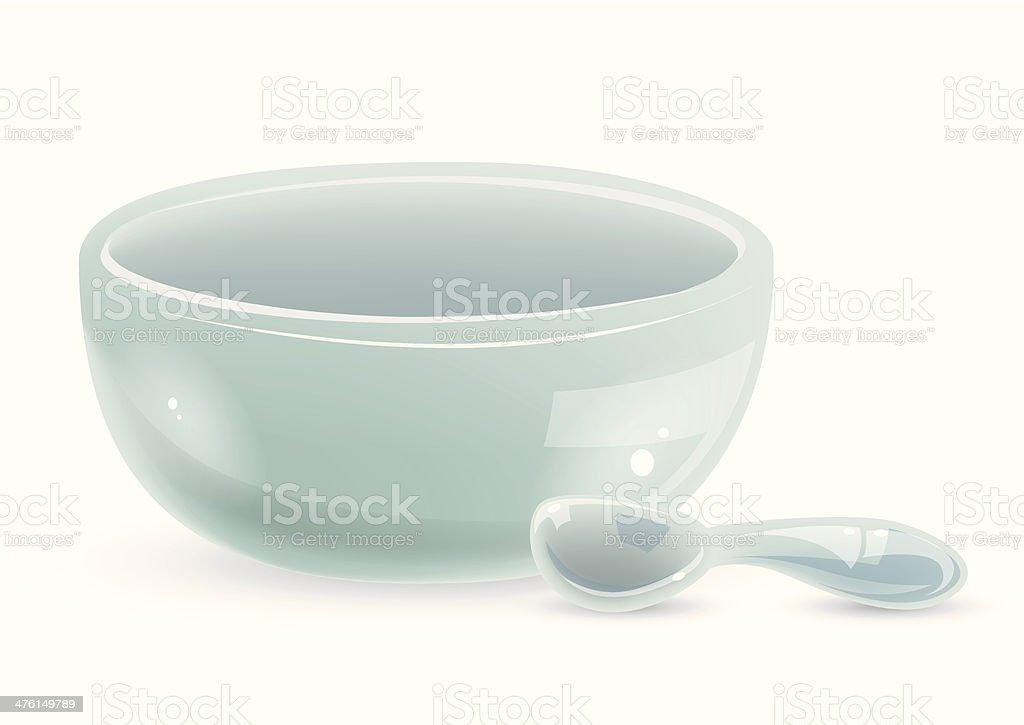 Ceramic Bowl & Spoon royalty-free stock vector art