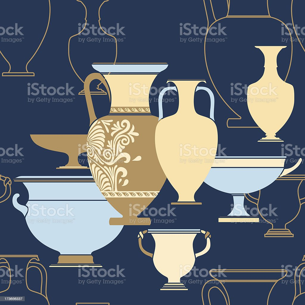 Ceramic Ethnic national Greek style seamless pattern royalty-free stock vector art