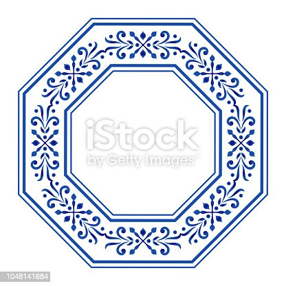 octagon border, ceramic frame, blue and white floral decorative round, porcelain background decor vector illustration