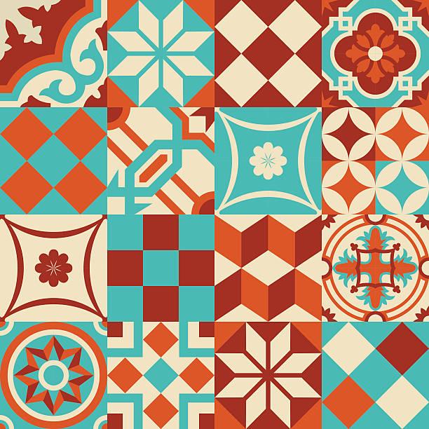 mozaiki ceramiczne wzór z geometrii kształty - kultura portugalska stock illustrations