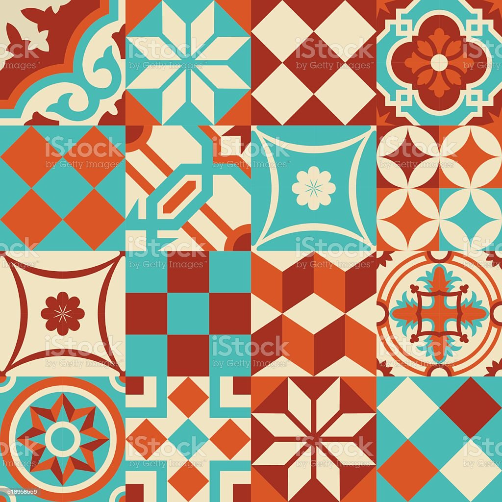 Ceramic mosaic tile pattern with geometry shapes vector art illustration