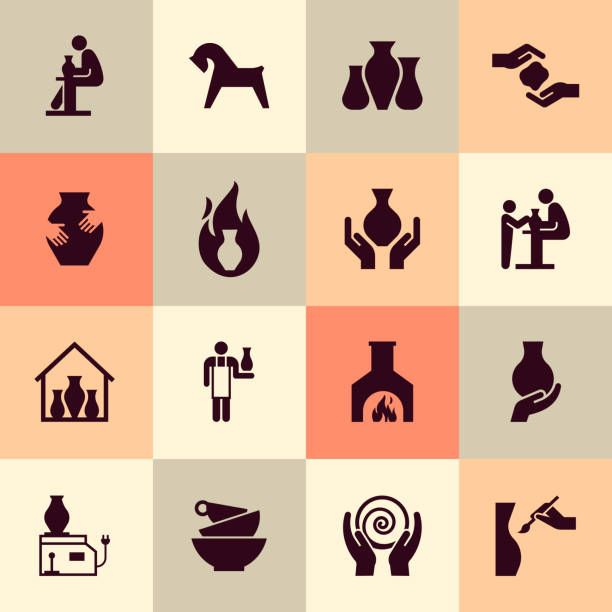 ceramic products in the icon set in flat style. for website, print, decoration or other you ideas. - wyrób ceramiczny stock illustrations