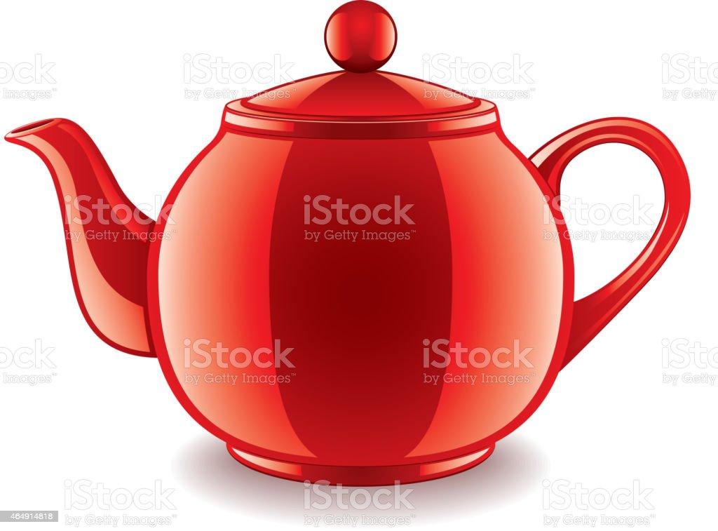Ceramic teapot isolated on white vector vector art illustration