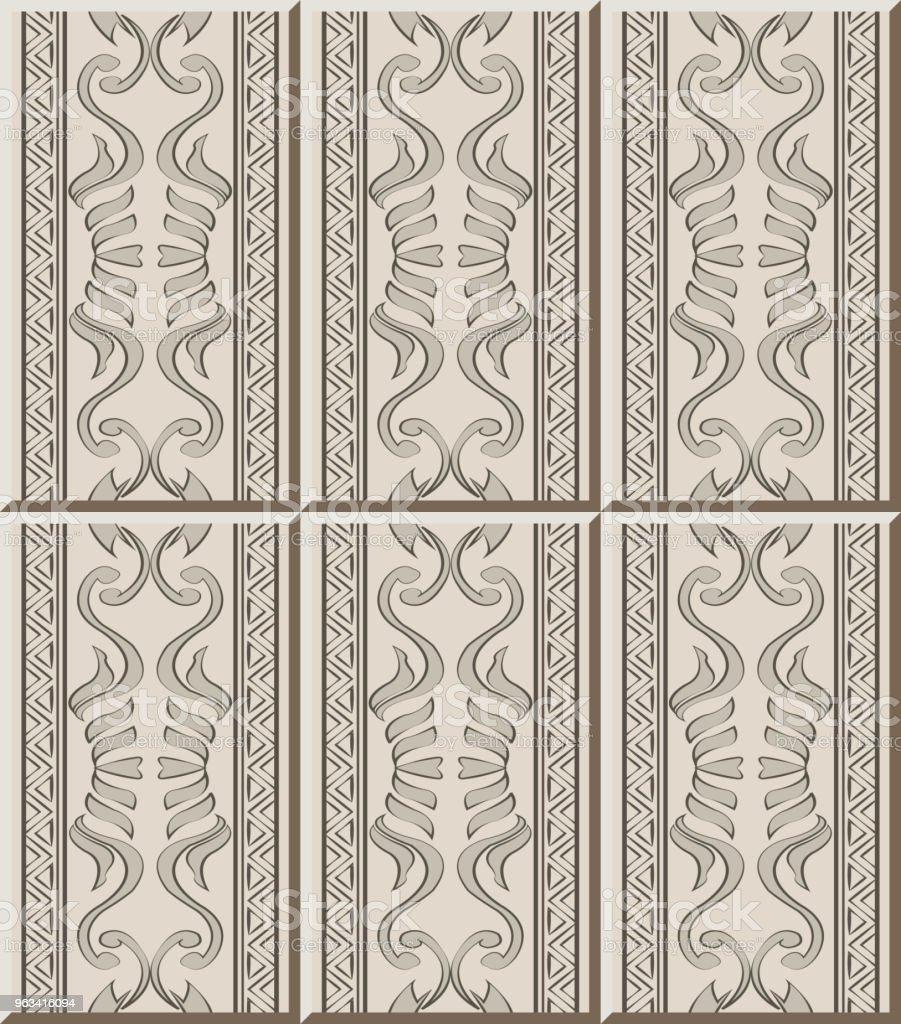 Ceramic tile pattern aboriginal curve spiral cross triangle frame line - Grafika wektorowa royalty-free (Antyczny)
