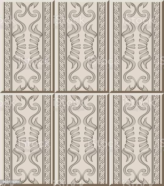 Wzór Płytki Ceramicznej Aborygenów Krzywa Spiralna Linia Ramy Trójkąta - Stockowe grafiki wektorowe i więcej obrazów Antyczny