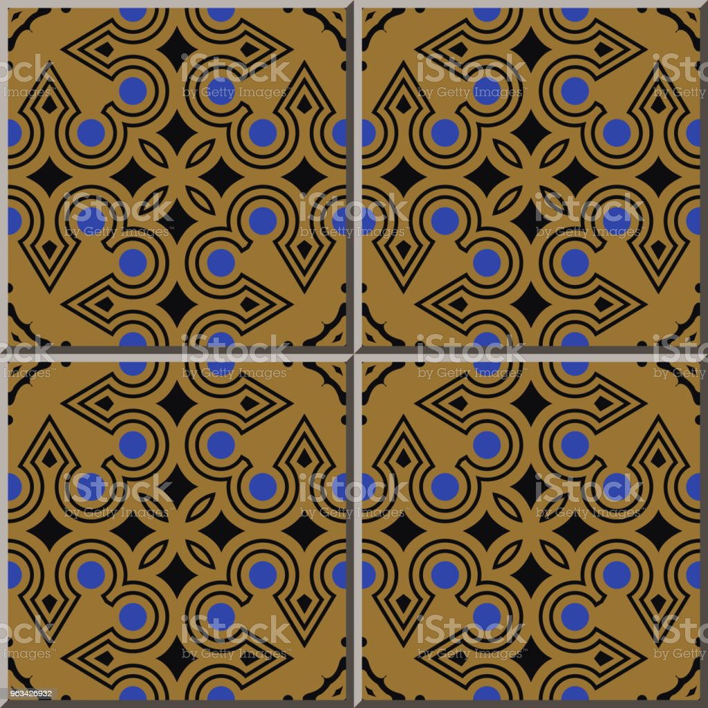 Autochtones de carreaux de céramique motif rond cocher trame lignée - clipart vectoriel de Antiquités libre de droits
