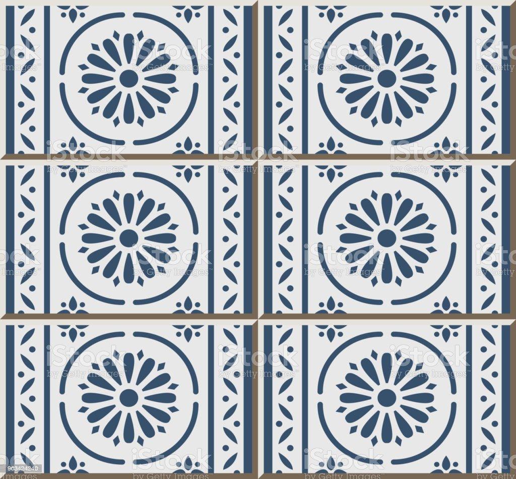 Wzór płytki ceramicznej niebieski okrągła krzywa krzyż linia ramki kwiat - Grafika wektorowa royalty-free (Antyczny)