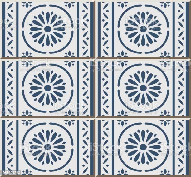 Wzór Płytki Ceramicznej Niebieski Okrągła Krzywa Krzyż Linia Ramki Kwiat - Stockowe grafiki wektorowe i więcej obrazów Antyczny