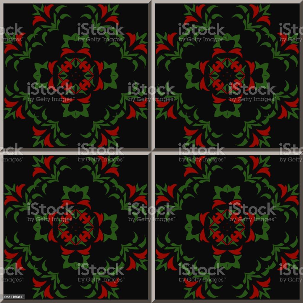 Ceramic tile pattern botanic garden curve cross green leaf red flower - Grafika wektorowa royalty-free (Antyczny)