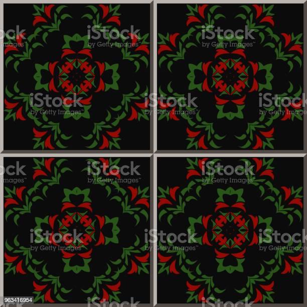 Ceramiczny Wzór Płytki Botaniczne Ogród Krzywa Krzyż Zielony Liść Czerwony Kwiat - Stockowe grafiki wektorowe i więcej obrazów Antyczny