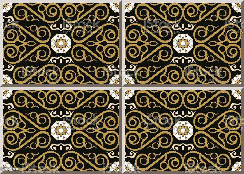 Ceramic tile pattern check spiral curve cross gold frame vine white flower - Grafika wektorowa royalty-free (Antyczny)
