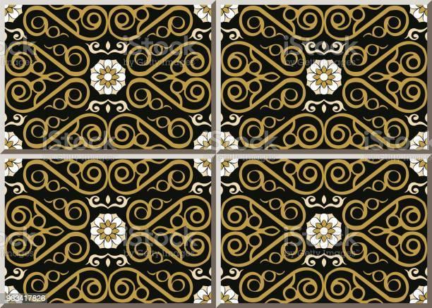 Wzór Płytki Ceramicznej Sprawdzić Krzywa Spiralna Krzyż Złota Ramka Winorośli Biały Kwiat - Stockowe grafiki wektorowe i więcej obrazów Antyczny