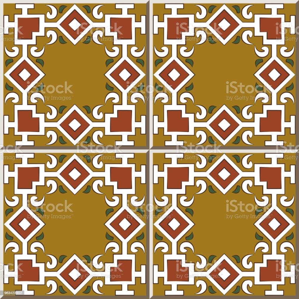 Wzór płytki ceramicznej sprawdzić kwadratową krzywą poprzecznego łańcucha linii ramowej - Grafika wektorowa royalty-free (Antyczny)