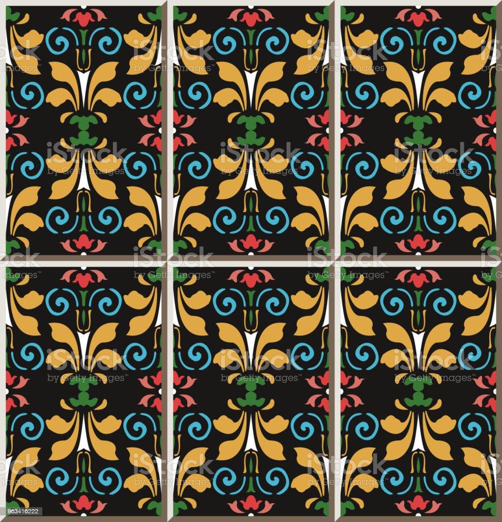 Keramiska plattor mönster färgstarka kurva spiral vortex cross blad blomma - Royaltyfri Antik vektorgrafik