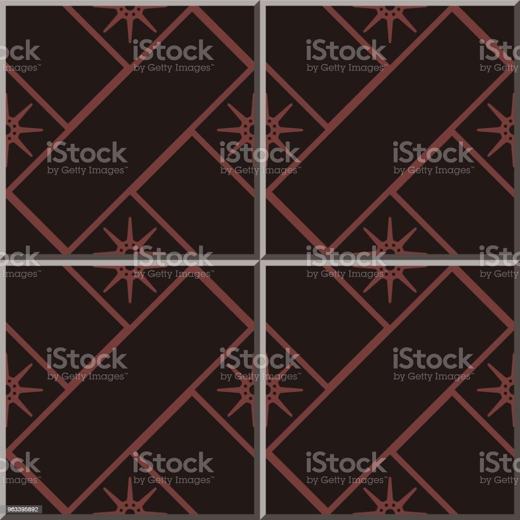Wzór płytki ceramicznej Cross Check Square Geometria Star Flower - Grafika wektorowa royalty-free (Antyczny)