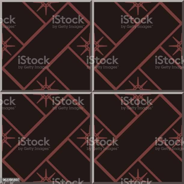 Wzór Płytki Ceramicznej Cross Check Square Geometria Star Flower - Stockowe grafiki wektorowe i więcej obrazów Antyczny