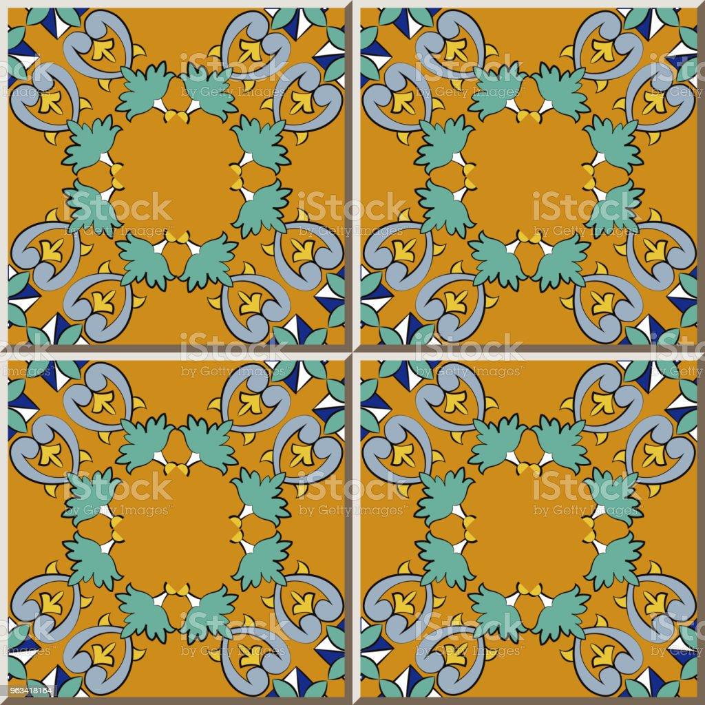 Ceramiczna krzywa wzór płytki krzyż botaniczny ogród plan kwiat ramki - Grafika wektorowa royalty-free (Antyczny)