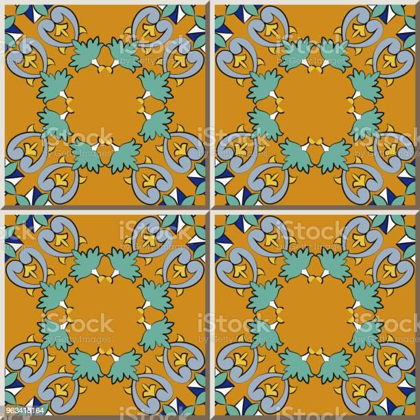 Ceramiczna Krzywa Wzór Płytki Krzyż Botaniczny Ogród Plan Kwiat Ramki - Stockowe grafiki wektorowe i więcej obrazów Antyczny