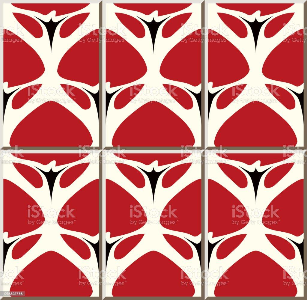 Wzór płytki ceramicznej Curve Cross Garden Czerwony Kwiat - Grafika wektorowa royalty-free (Antyczny)