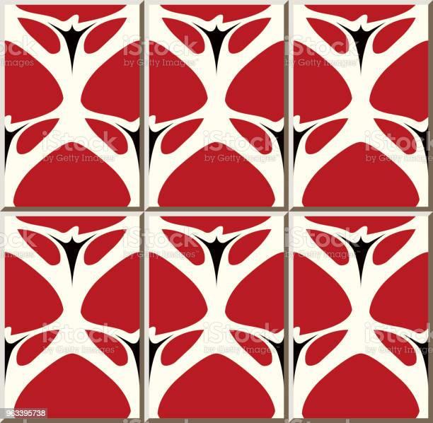 Wzór Płytki Ceramicznej Curve Cross Garden Czerwony Kwiat - Stockowe grafiki wektorowe i więcej obrazów Antyczny