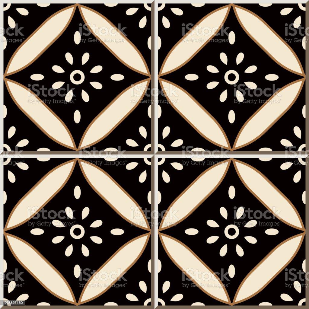 Wzór płytki ceramicznej Krzywa Cross Okrągła Rama Kwiat - Grafika wektorowa royalty-free (Antyczny)