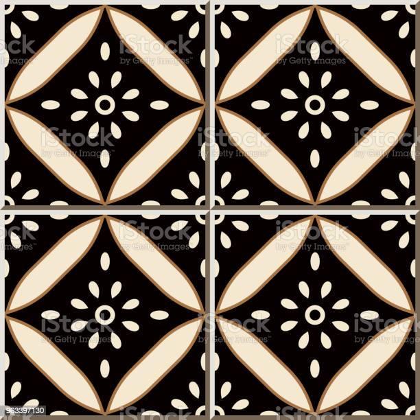 Wzór Płytki Ceramicznej Krzywa Cross Okrągła Rama Kwiat - Stockowe grafiki wektorowe i więcej obrazów Antyczny