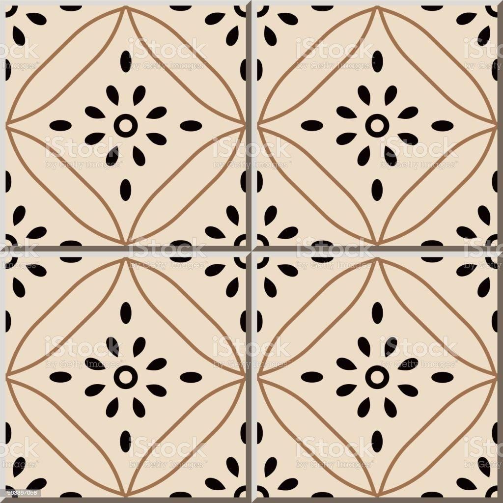 Ceramic tile pattern Curve Cross Round Frame Line Flower - Grafika wektorowa royalty-free (Antyczny)