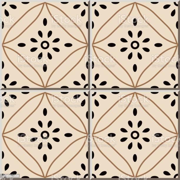 Wzór Płytki Ceramicznej Krzywa Krzyż Okrągła Linia Ramki Kwiat - Stockowe grafiki wektorowe i więcej obrazów Antyczny