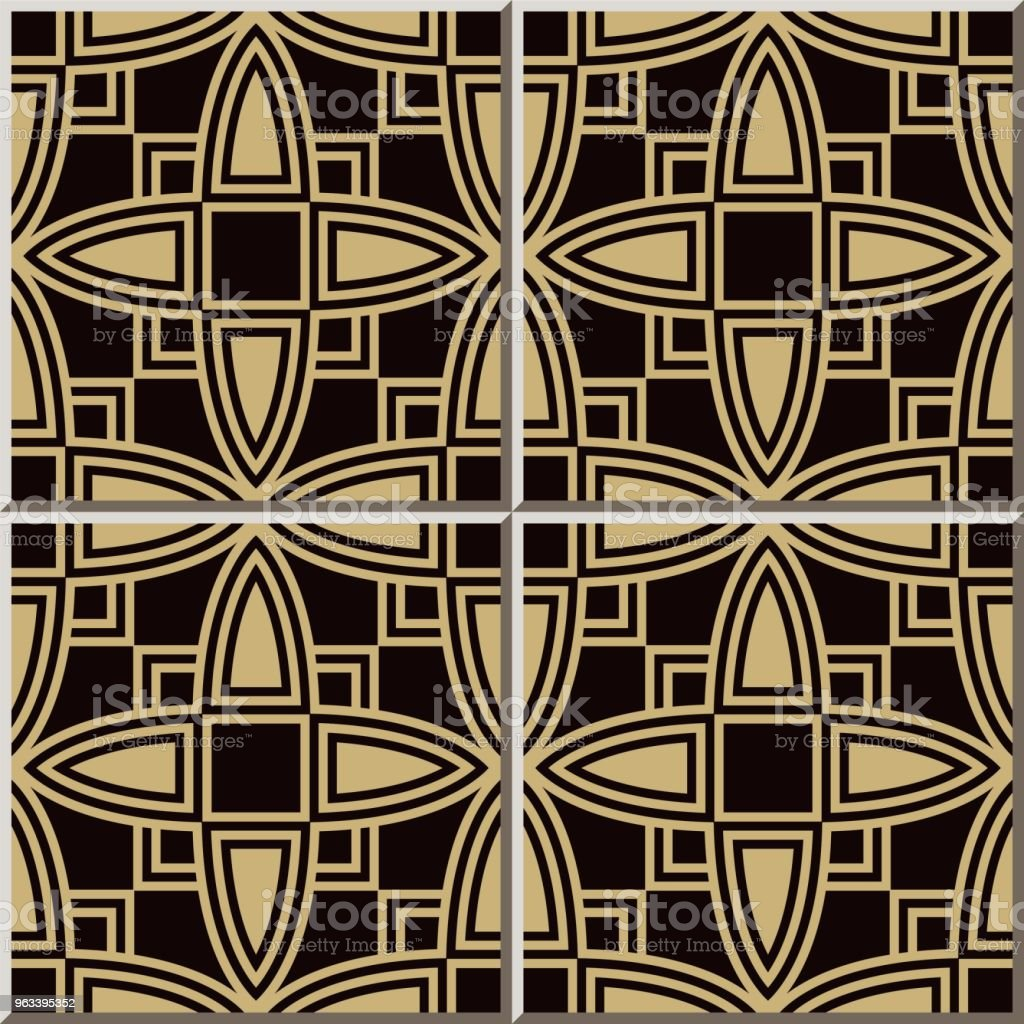 Ceramic tile pattern Curve Cross Square Frame Geometry - Grafika wektorowa royalty-free (Antyczny)