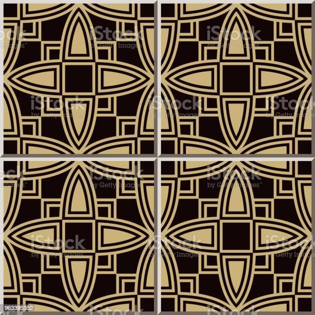Wzór Płytki Ceramicznej Krzywa Cross Square Frame Geometria - Stockowe grafiki wektorowe i więcej obrazów Antyczny