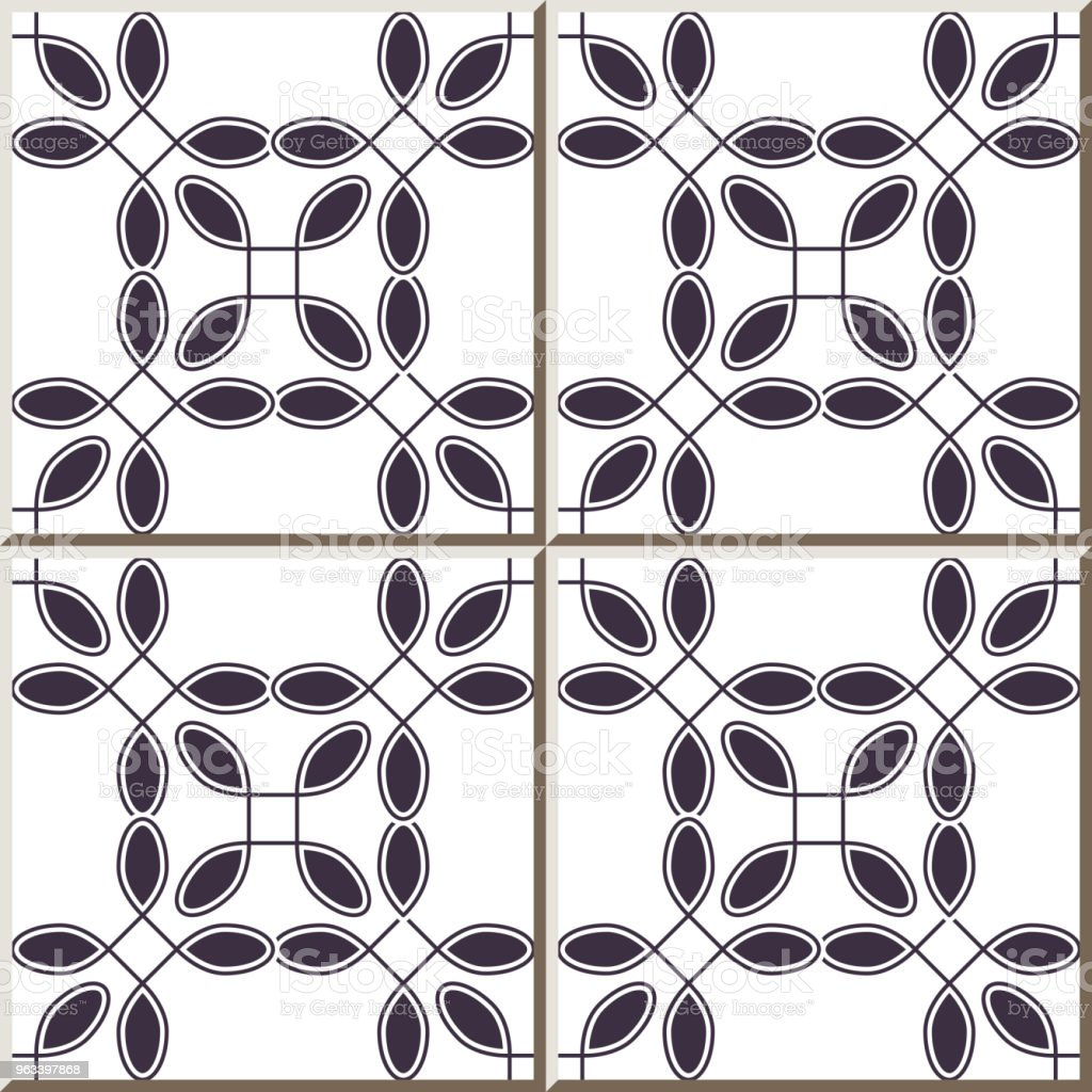 Ceramic tile pattern Curve Round Corner Square Cross line Frame - Grafika wektorowa royalty-free (Antyczny)