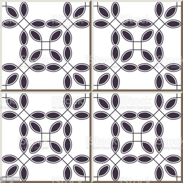Wzór Płytki Ceramicznej Krzywa Okrągły Narożnik Kwadrat Linia Krzyżowa Rama - Stockowe grafiki wektorowe i więcej obrazów Antyczny