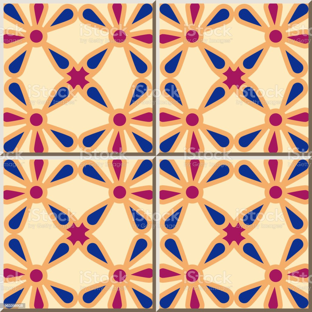 Ceramic tile pattern Curve Round Cross Frame Flower - Grafika wektorowa royalty-free (Antyczny)