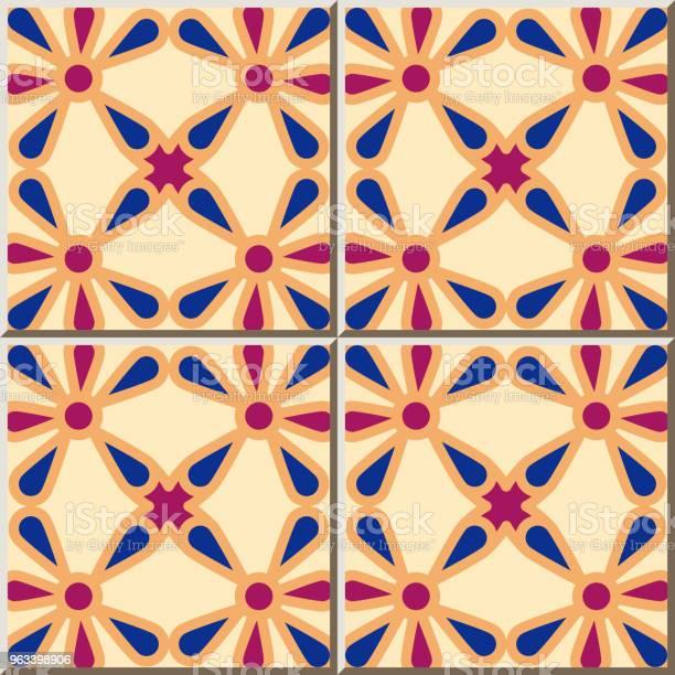 Wzór Płytki Ceramicznej Krzywa Okrągły Cross Frame Flower - Stockowe grafiki wektorowe i więcej obrazów Antyczny