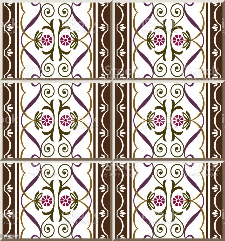 Vortex de spirale de courbe carreau de céramique motif Croix ligne vigne cadre rond fleur - clipart vectoriel de Antiquités libre de droits
