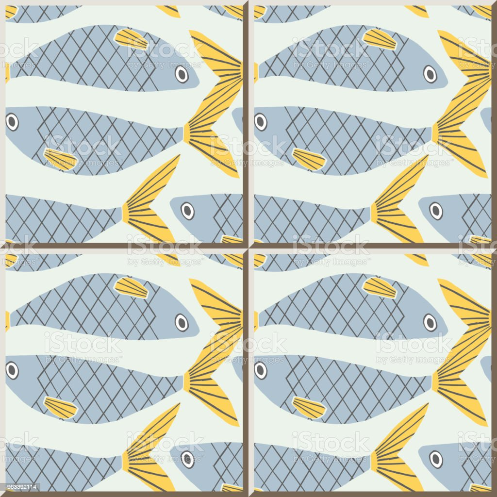 Ceramic Tile Pattern Fish Stock Vector Art & More Images of Animal ...