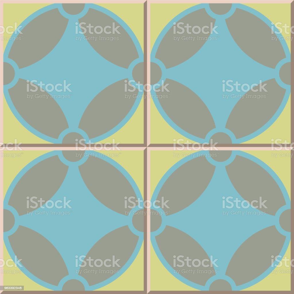 Geometria wzoru płytki ceramicznej okrągła krzywa krzyżowa - Grafika wektorowa royalty-free (Antyczny)