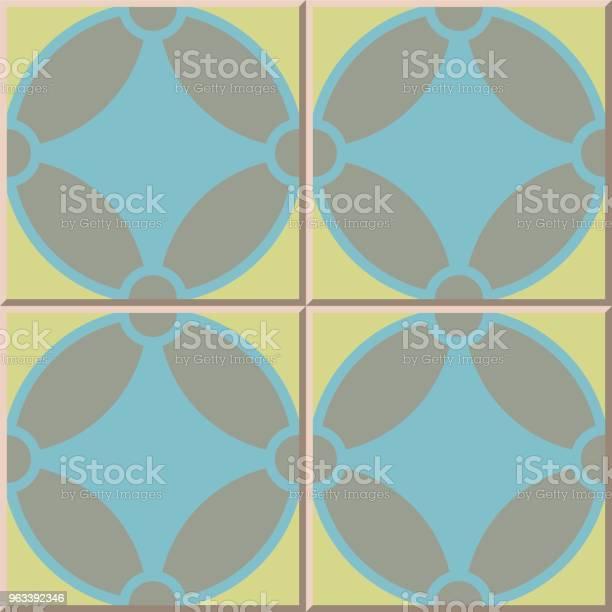 Geometria Wzoru Płytki Ceramicznej Okrągła Krzywa Krzyżowa - Stockowe grafiki wektorowe i więcej obrazów Antyczny