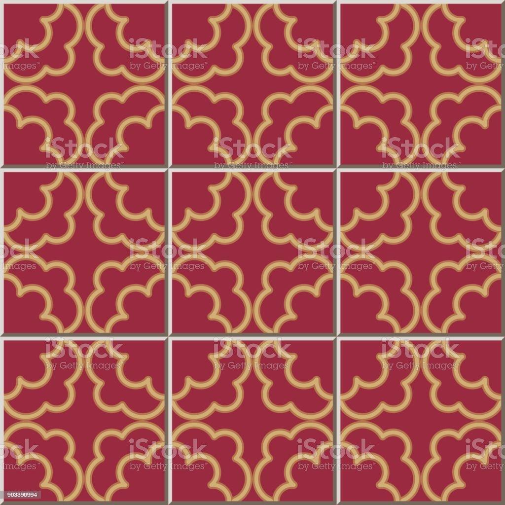 Ceramic tile pattern Golden Curve Cross Frame Line - Grafika wektorowa royalty-free (Antyczny)