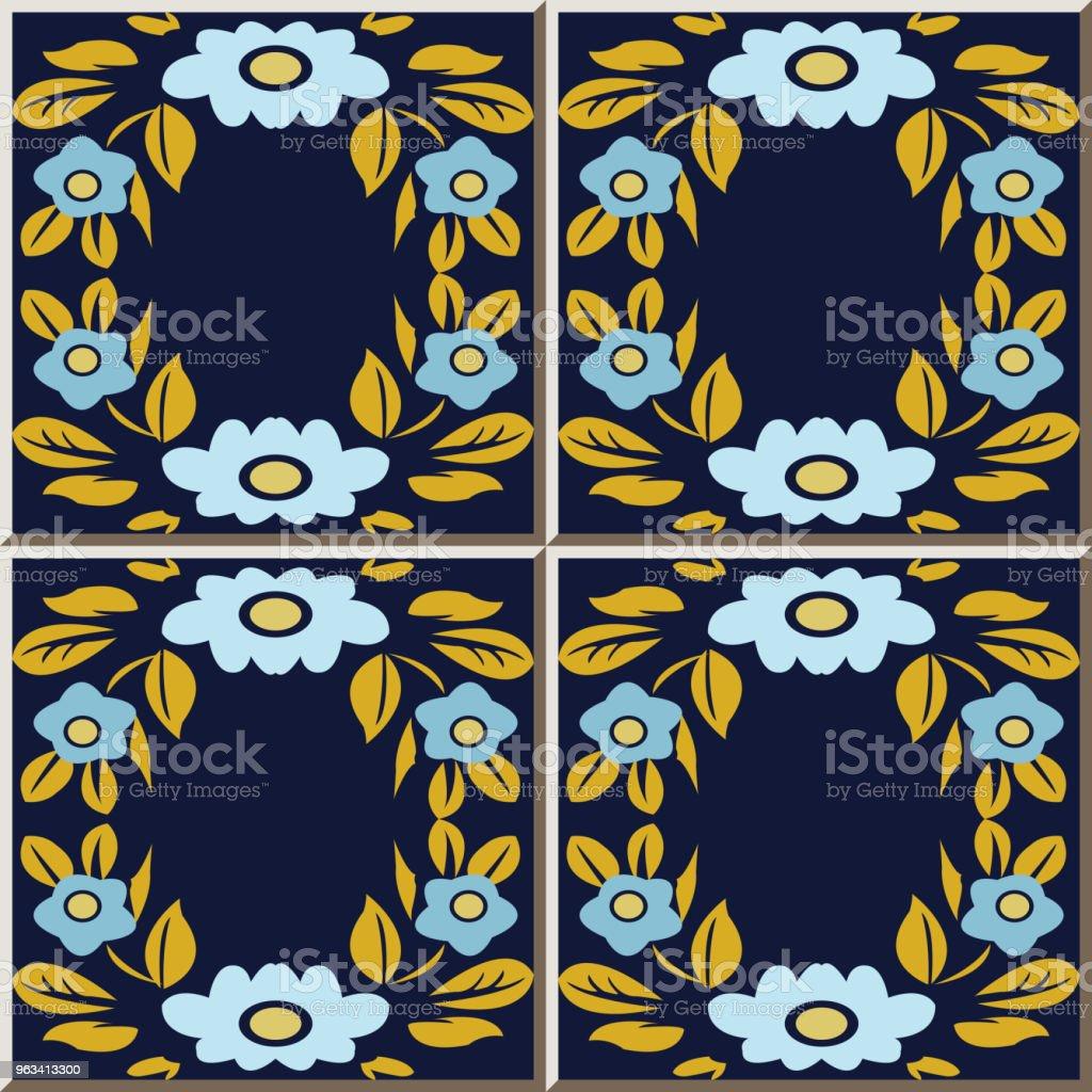 Ceramiczny wzór płytki złoty liść ramka krzyż niebieski kwiat - Grafika wektorowa royalty-free (Antyczny)