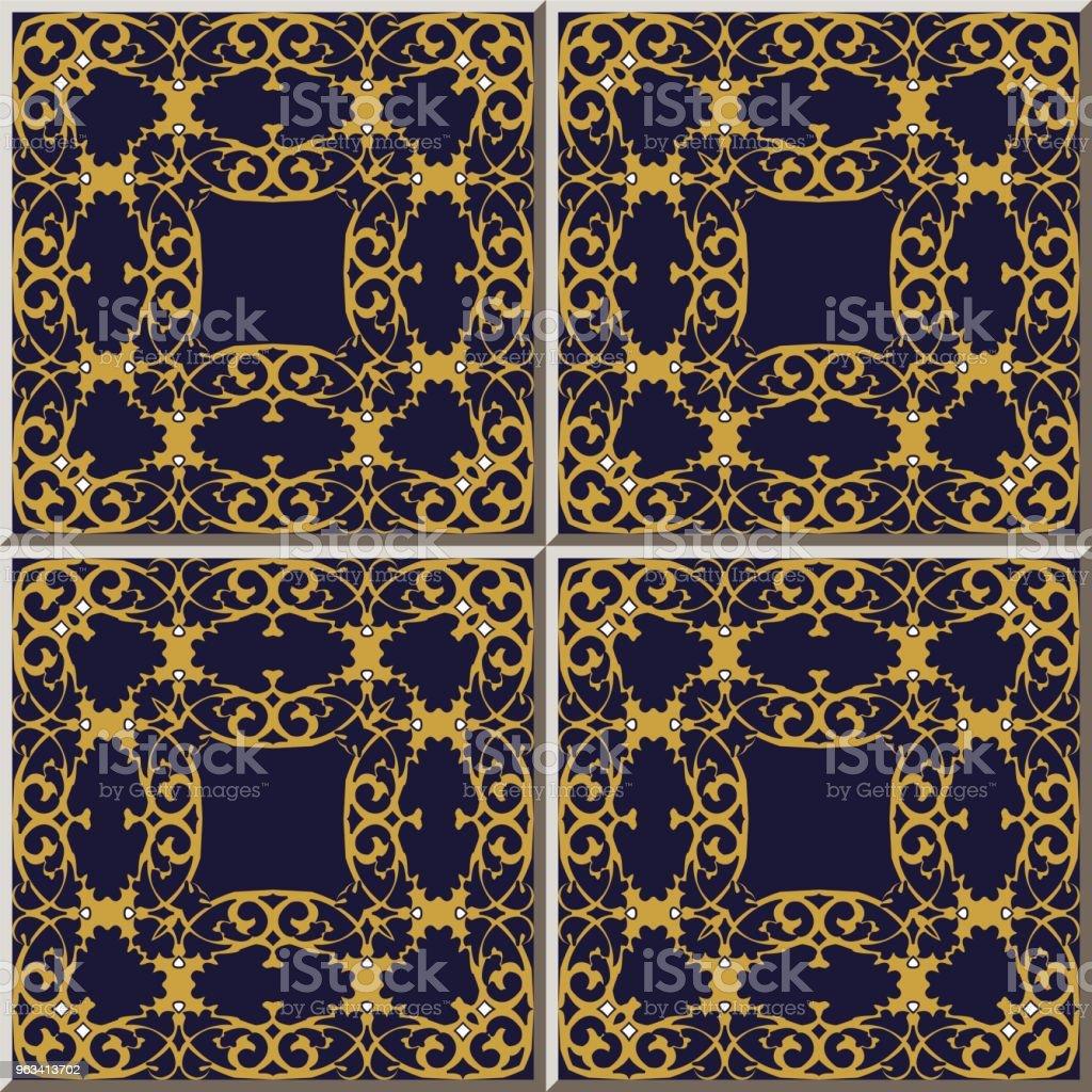 Courbe de spirale carreau de céramique modèle golden cross luxe cadre - clipart vectoriel de Antiquités libre de droits
