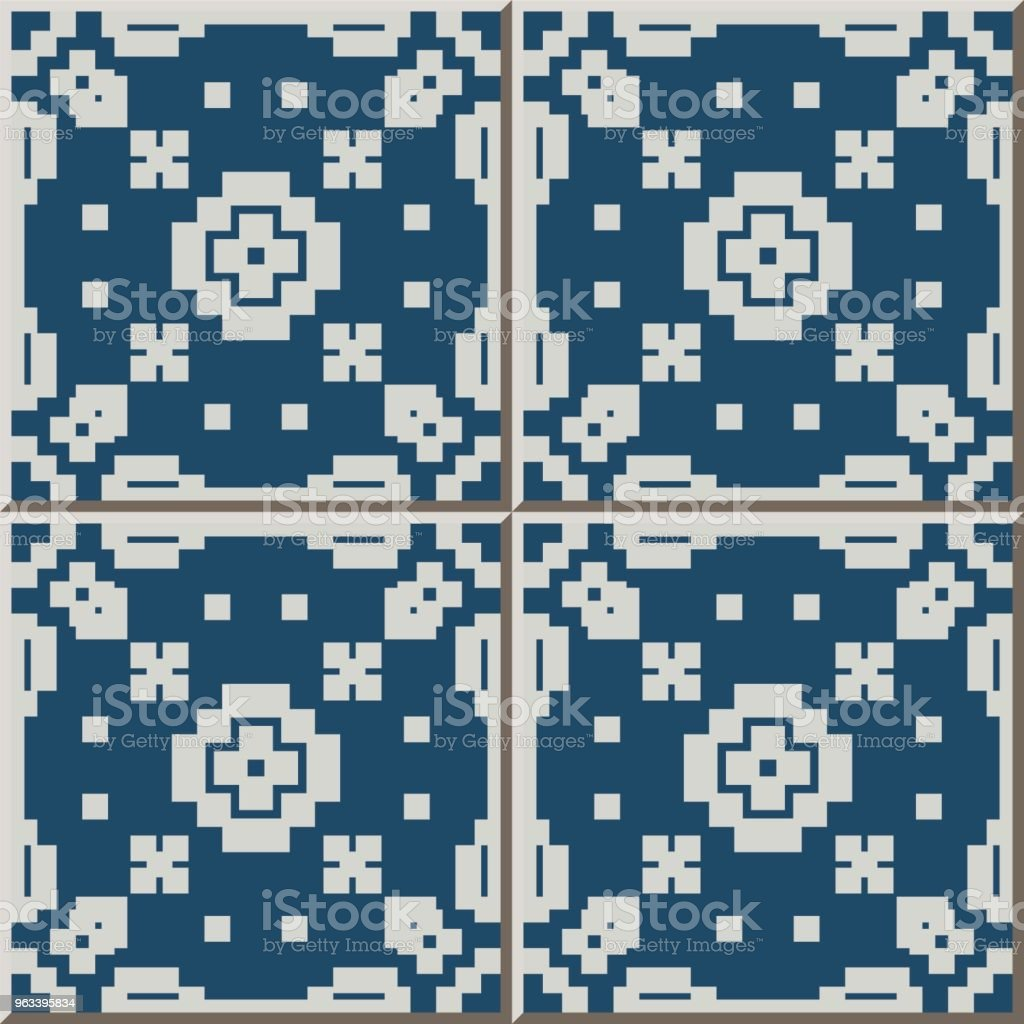 Ceramic Tile Pattern Mosaic Geometry Cross Square Check Stock Vector ...