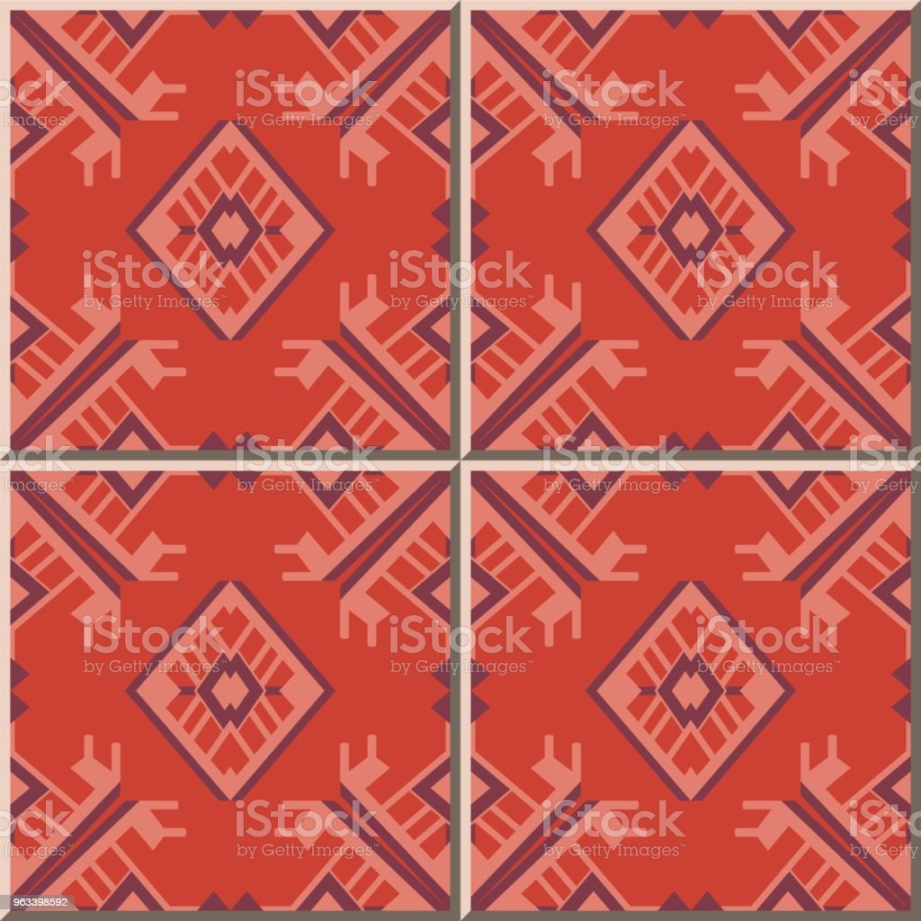 Wzór płytki ceramicznej Wielokąt Sprawdź geometrię Krzyża Ramka Arrow Triangle - Grafika wektorowa royalty-free (Antyczny)