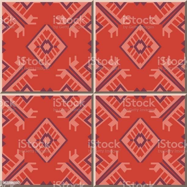 Wzór Płytki Ceramicznej Wielokąt Sprawdź Geometrię Krzyża Ramka Arrow Triangle - Stockowe grafiki wektorowe i więcej obrazów Antyczny