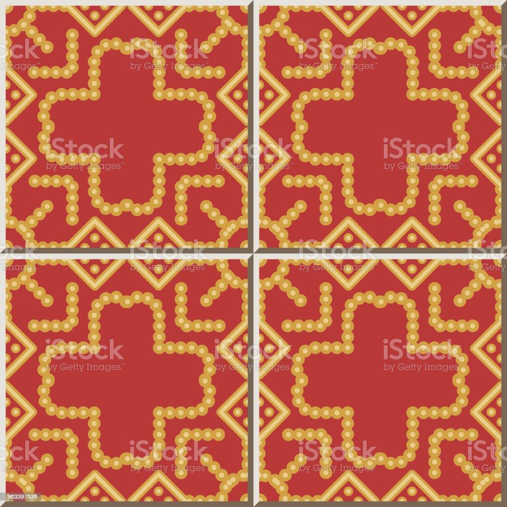 Wzór płytki ceramicznej Okrągły Check Square Cross Dot Line Frame - Grafika wektorowa royalty-free (Antyczny)