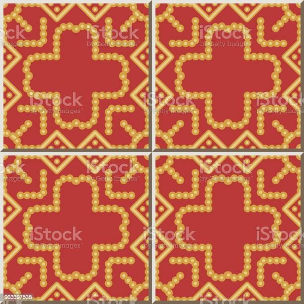 Wzór Płytki Ceramicznej Okrągły Check Square Cross Dot Line Frame - Stockowe grafiki wektorowe i więcej obrazów Antyczny