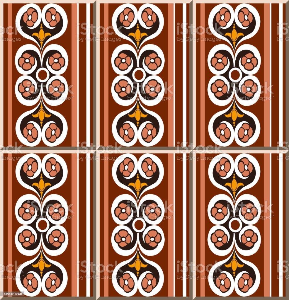 Ceramic tile pattern round curve spiral cross flower straight frame line - Grafika wektorowa royalty-free (Antyczny)