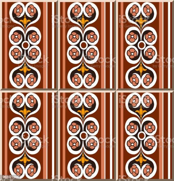 Wzór Płytki Ceramicznej Okrągła Krzywa Spiralna Krzyż Kwiat Prosta Linia Ramy - Stockowe grafiki wektorowe i więcej obrazów Antyczny
