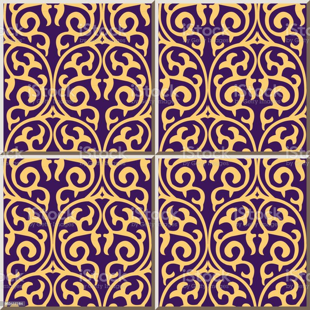 Wzór płytki ceramiczne okrągła krzywa spiralna krzyżowa natura winorośli - Grafika wektorowa royalty-free (Antyczny)